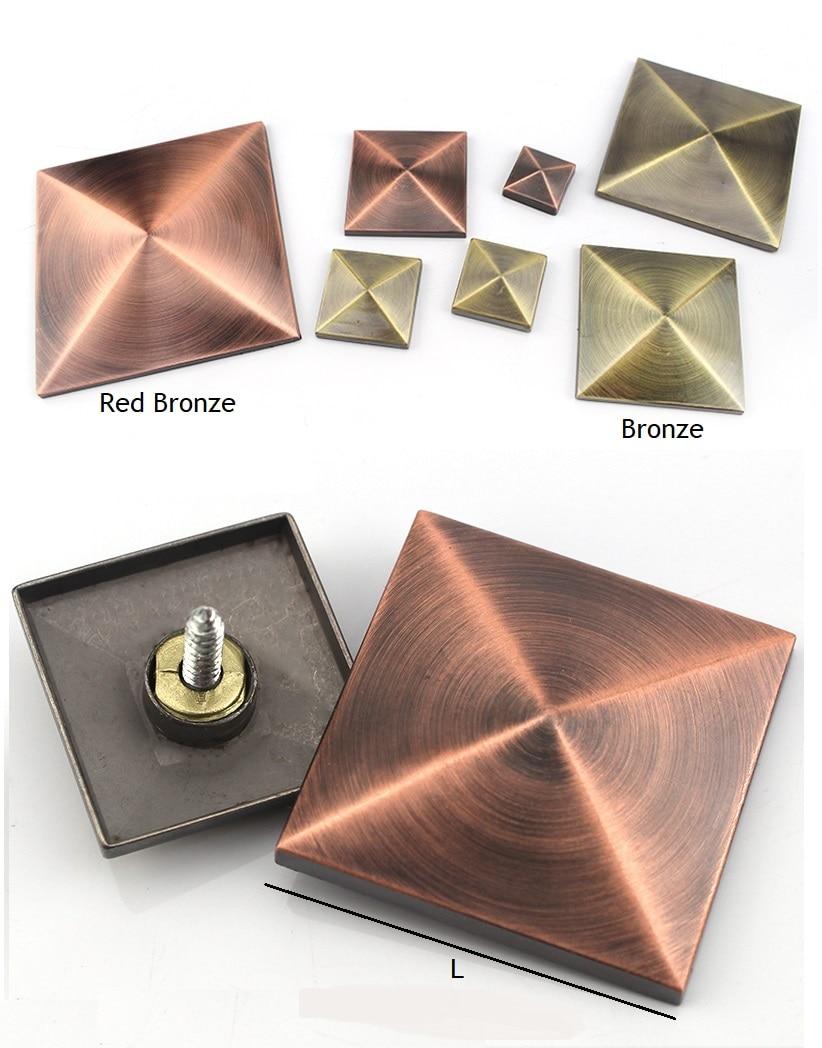 8Pcs/Lot Zinc Alloy Antique Bronze Red Antique Square Diamond Decorative Cap Nail Screw Upholstery Tack Mirror Door Hole Cover
