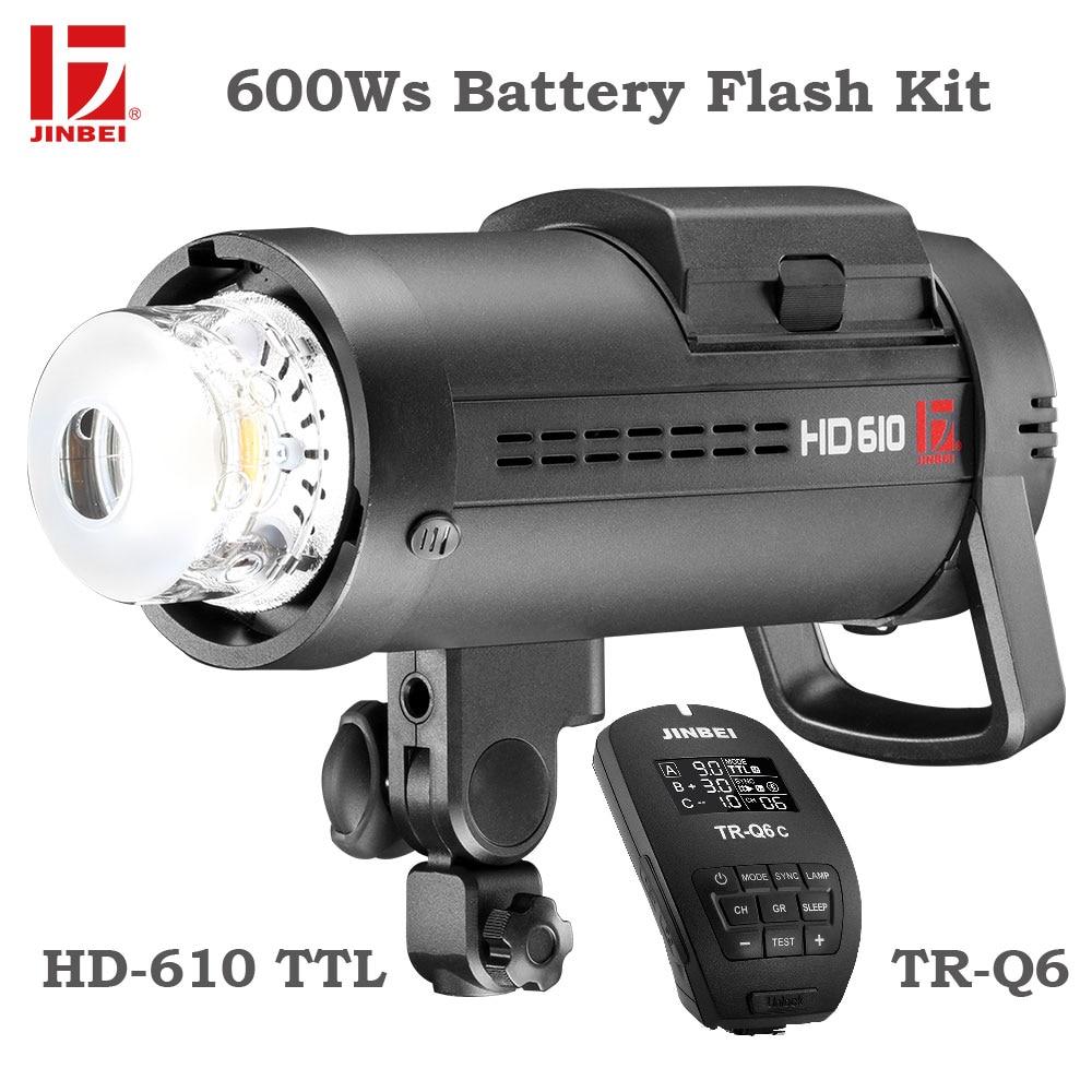 JINBEI HD-610 600 Вт Комплект для наружной вспышки батареи Высокоскоростная синхронизация TTL с питанием от аккумулятора стробоскопическая вспышка для фотосъемки с TR-Q6 триггером