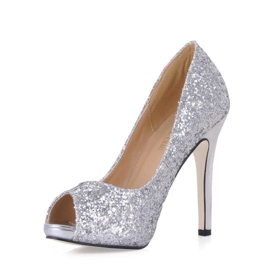 Zapatos de tacón Alto con purpurina para Mujer, calzado con puntera Sexy...