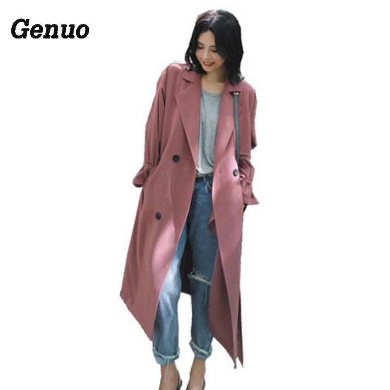 Gabardina de mujer Genuo para primavera y otoño con cuello largo y sobretodo hasta la cintura ajustable de talla grande informal para mujer