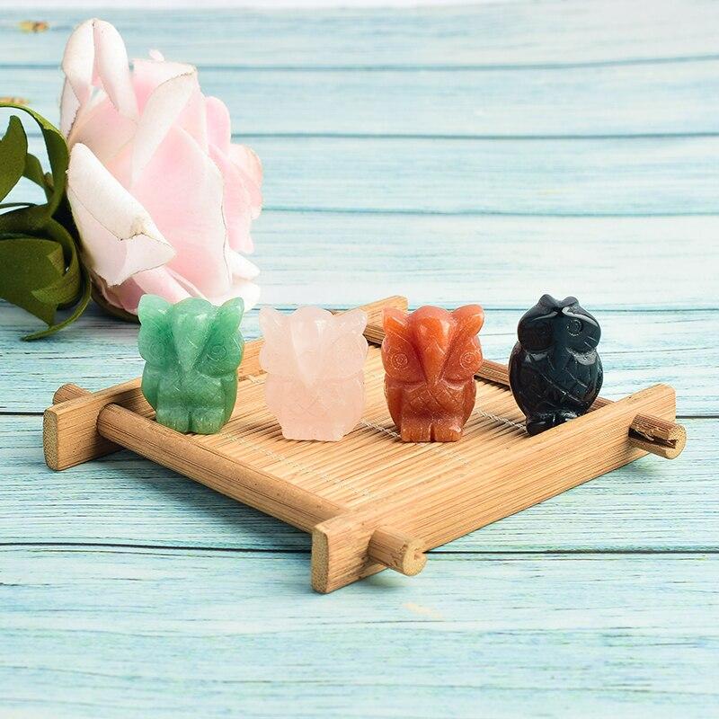 Figuras de búho de 1 pulgada, Mini animales artesanales tallados, 4 materiales de estatua para niños, decoración para el hogar, cristales de cuarzo curativos minerales