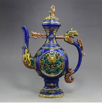 TNUKK-cadeau de noël ancien chinois   statue de lion longfeng de la théière, décoration de la maison, cadeaux dartisanat en métal
