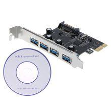 PCI-E PCI Express vers USB 3.0 VIA puce SATA Interface 4 ports adaptateur carte convertisseur pour bureau Windows XP/Vista/Win7/Win8/Win10