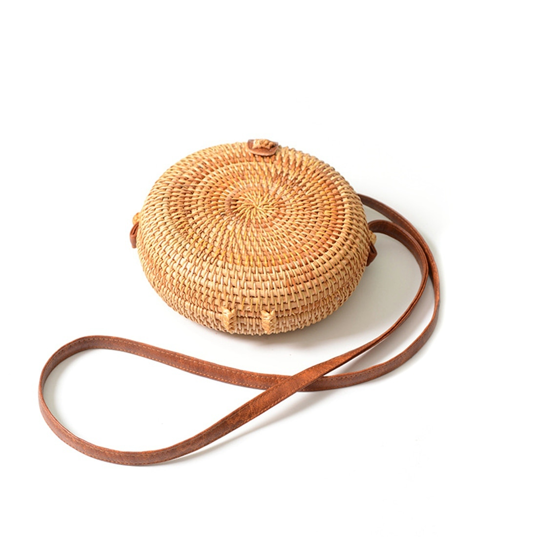 Dcos ins novas senhoras mão-tecido saco redondo rattan retro literário mão-tecido fivela de couro pacote bohemia praia mensageiro saco