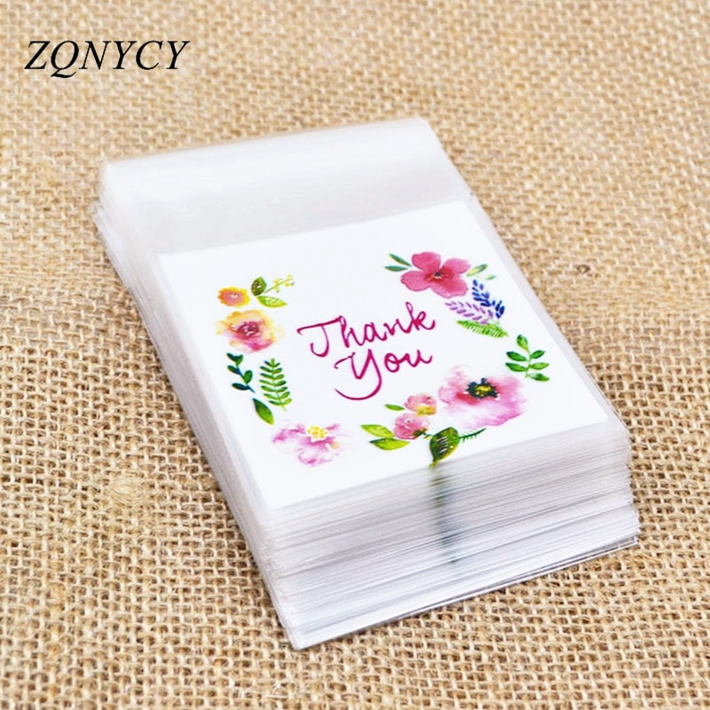 100Pcs Plastic Bags Thank you Cookie&Candy Bag Self-Adhesive For Wedding Birthday Party Gift Bag Bis