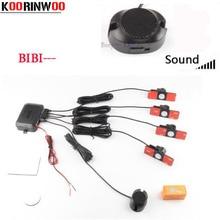 Koorinwoo Kit de capteurs de stationnement voiture   4 capteurs de boursage, 16.5mm Kit de capteurs de Parking de voiture, système de sonde indicateur dalerte, de Radar inversé réglable