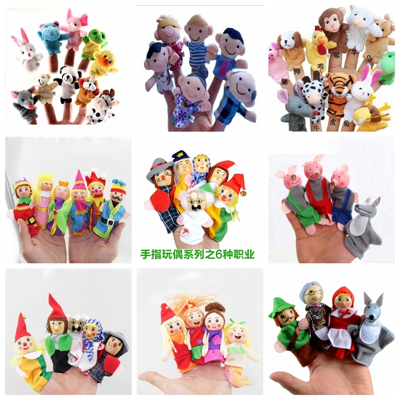 Finger Puppets Baby Mini Animals Educational Hand Cartoon Animal Plush doll Finger Puppets theater P