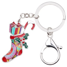 Bonsny émail métal bas de noël chaussettes boîte cadeau porte-clés bijoux de mode pour femmes fille adolescents sac fête
