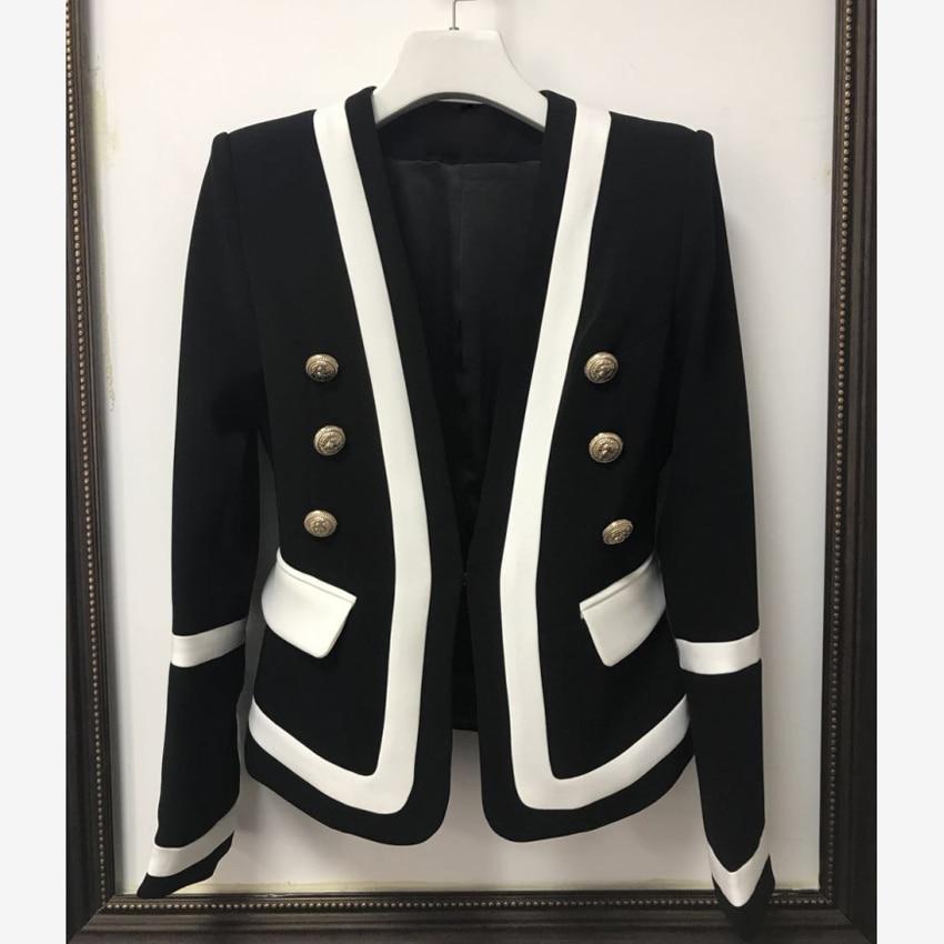 HIGH STREET New Fashion 2021 Designer Blazer Women's Classic Black White Color Block Metal Buttons Blazer Jacket Outer Wear