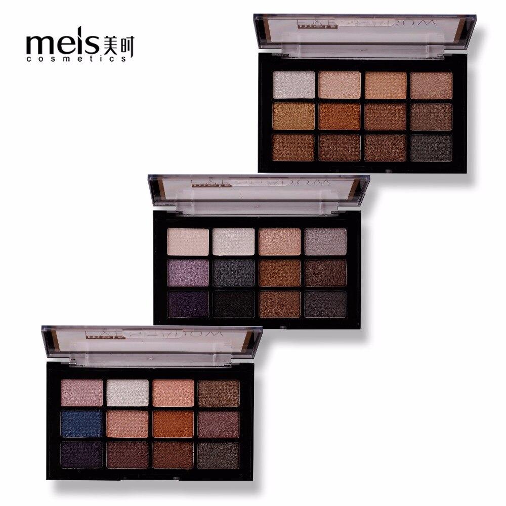 Paleta de sombras de ojos MEIS Beauty Glazed 12 colores Nude Shining Makeup Glitter pigmento Smoky paleta de sombras para ojos cosméticos impermeables