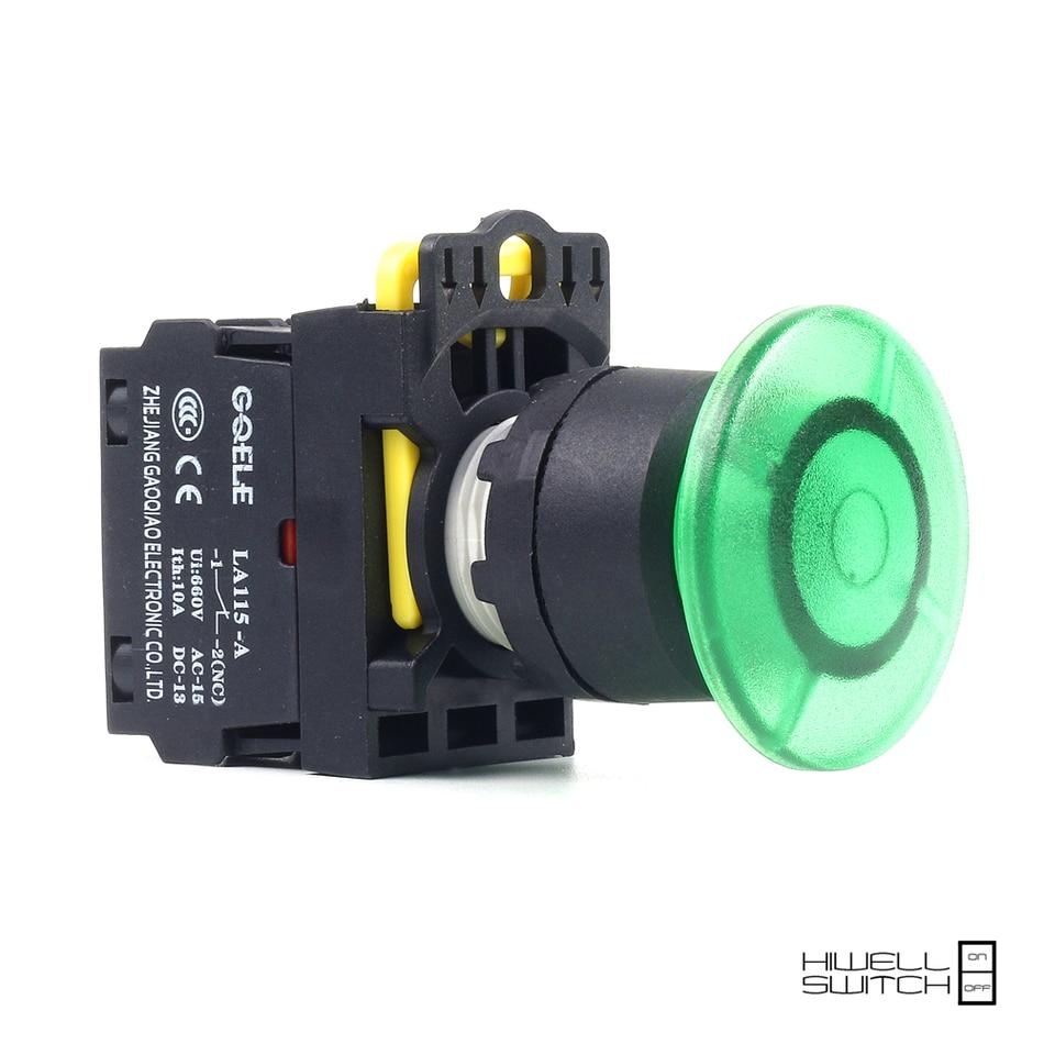 5 PCS Push button switch Mushroom button LED Momentary IP65 1NO 1NC 1NO+1NC 2NO 2NC LA115-A2-11MD-R31