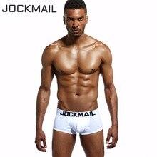 JOCKMAIL 6 PCS/Lot basiques classiques blanc solide coton Sexy boxer sous-vêtements pour homme Shorts U convexe Gay pénis poche troncs hommes culottes
