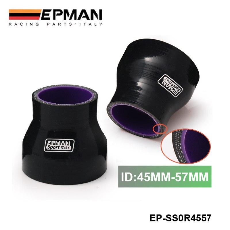 "1,77 ""-2,24"" 45mm-57mm 4 capas silicona Intercooler Turbo reductor manguera negro para BMW e90 EP-SS0R4557"