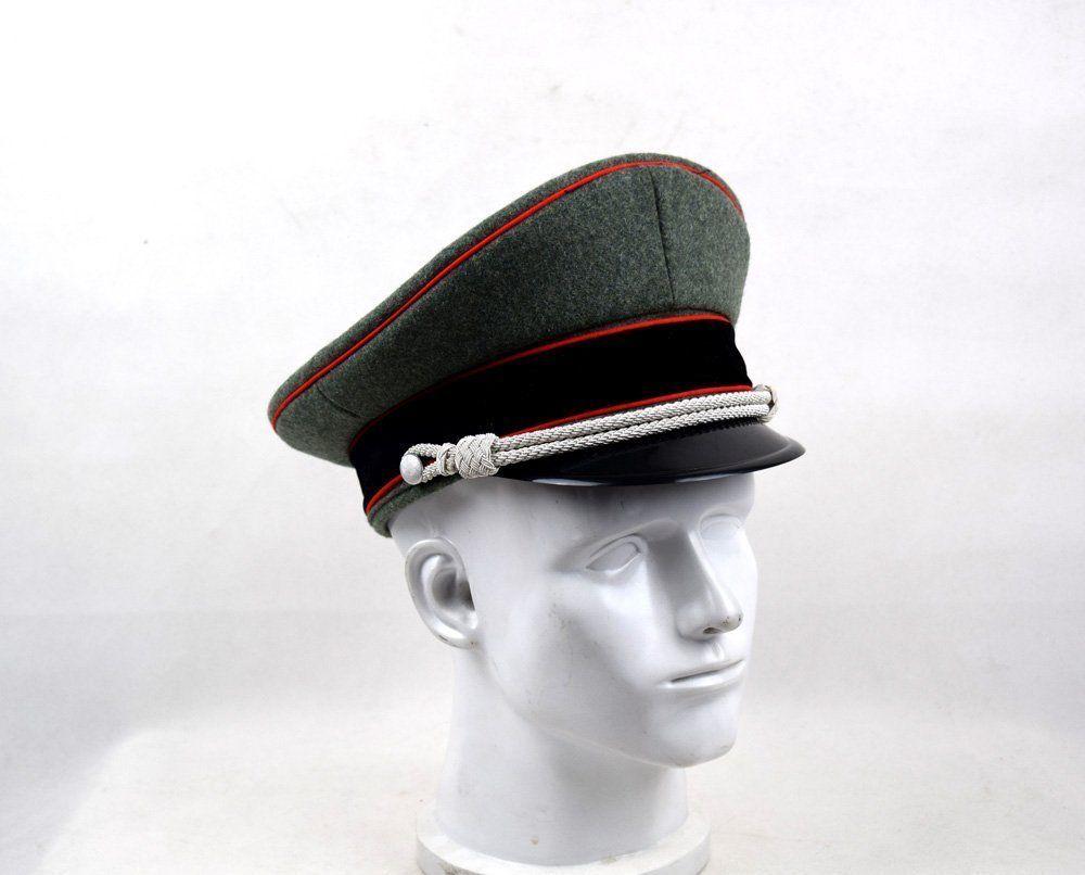 WW2, sombrero BRIMMED de oficial de élite alemán, gorro de lana coleccionable, cordón para la barbilla de plata, tamaño 57, 58, 59, 60 cm