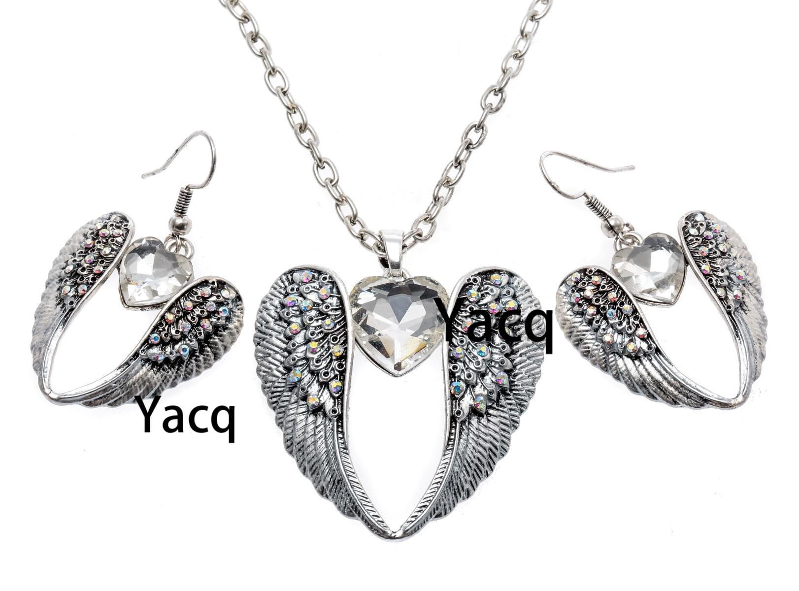 YACQ Крыло ангела-хрателя, ожерелье, серьги, наборы, античный Серебристый цвет, для женщин и девочек, кристаллические украшения, подарки, Пряма...