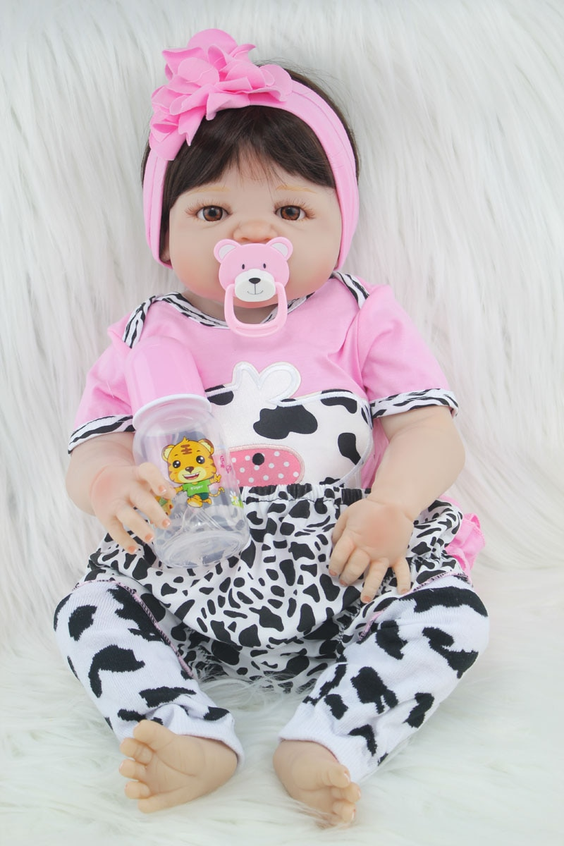 55cm Full Body Silicone Reborn Girl Baby Doll Toy Newborn Princess Babies Doll Fashion Kids Child Brinquedos Bathe Shower Toy