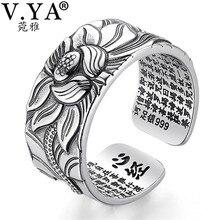 V.YA 100% Echt 999 Reinem Silber Schmuck Lotus Blume Offenen Ring Für Männer Männlichen Mode Freie Größe Buddhistic Herz Sutra ringe Geschenke