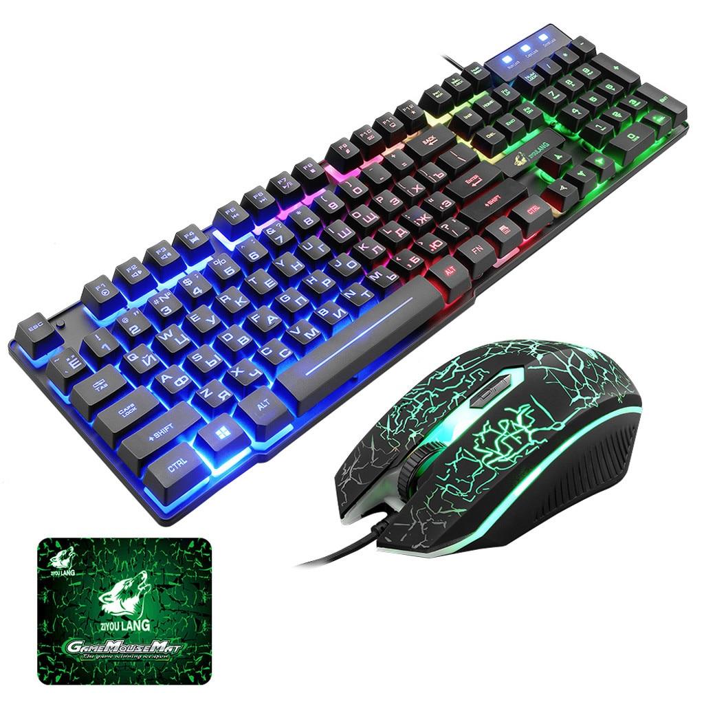 T5 retroiluminación arcoíris Usb Teclado + Ratón juego ergonómico inglés ruso teclado y ratón Set para PC Laptop gamer # G4