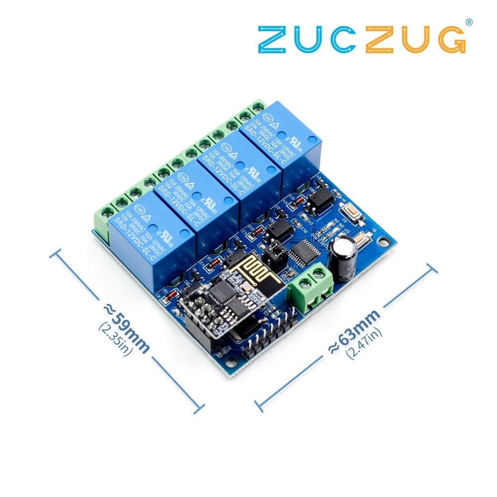 5 V/12 V ESP8266 1 2 4 canales Wifi relé módulo interruptor de Control remoto para Smart Home IOT transmisión teléfono APP controlador 100m