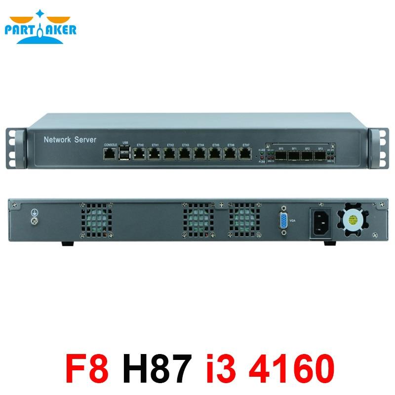 1U network Firewall Router System with 8 ports Gigabit lan 4 SPF Intel i3 4160 3.6Ghz Mikrotik PFSense ROS Wayos 4G RAM 128G SSD
