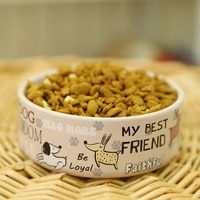 lovely pet feeders english cartoon pattern high quality thick non slip ceramics bowls for dogs and cats pet supplies accessories