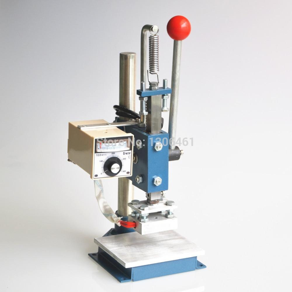 1 Set Manual máquina de estampación en caliente estampadora de láminas impresora de cuero máquina de grabación en relieve (10X15cm)