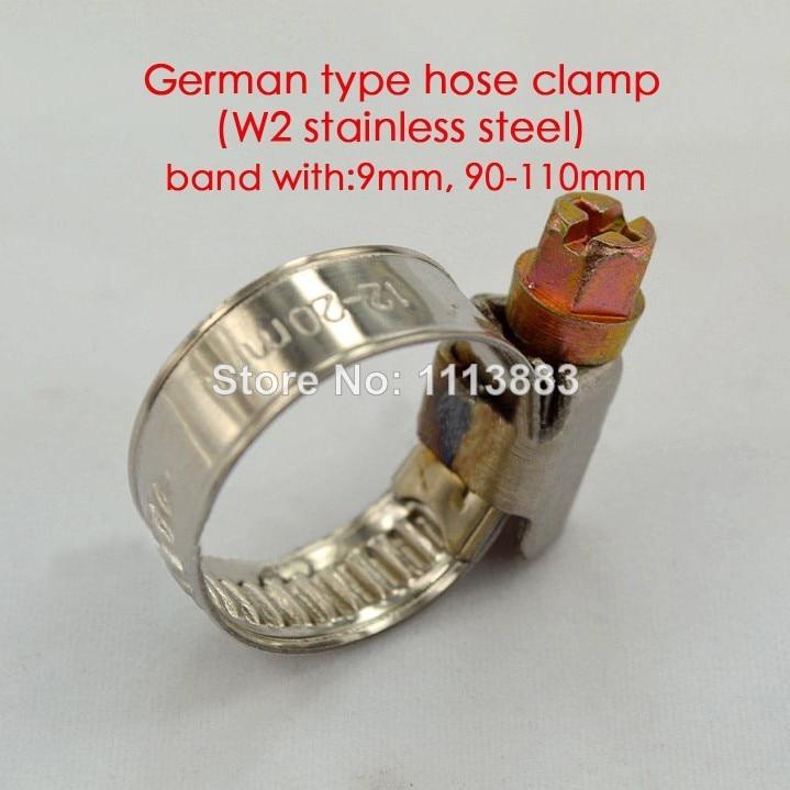 الألمانية نوع W2 الفولاذ المقاوم للصدأ 9 مللي متر الفرقة خرطوم مشابك أنابيب مقاطع الأنابيب في نطاق 90-110 مللي متر