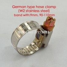 Tipo alemán W2 de acero inoxidable banda de 9mm manguera abrazaderas de tubo de clips en 90-110mm