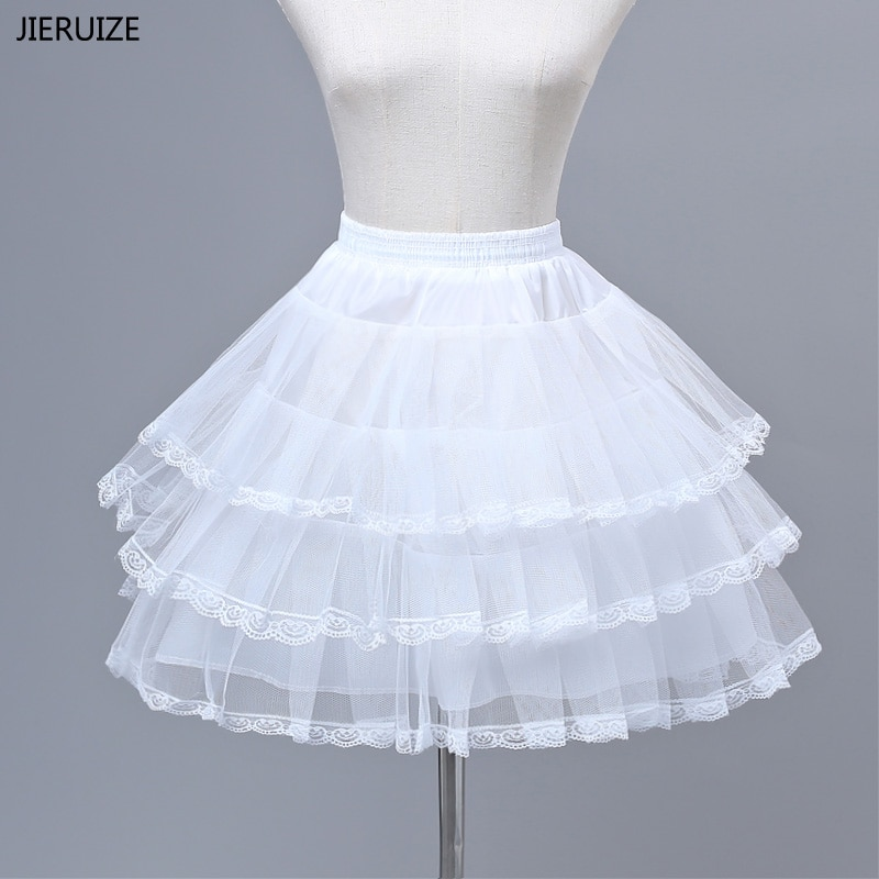 JIERUIZE flor enaguas para chicas Cosplay Vestido corto de fiesta falda Lolita falda tutú de ballet Rockabilly crinolina