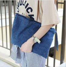 10 pièces nouveau 2020 femmes toile pochette bleu denim femmes embrayages Bolsa Feminina bracelets dame sac à main décontracté portefeuilles