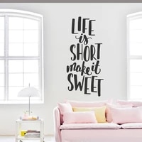 La vie est courte faire doux citations autocollant Mural famille citations stickers muraux pour la maison chambre salon amour mots Art Mural N194