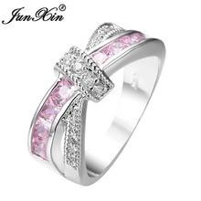 JUNXIN mignon Bowknot bague de fiançailles rose zircon cubique bague femmes anneaux de mariage mode or blanc rempli bijoux accessoires