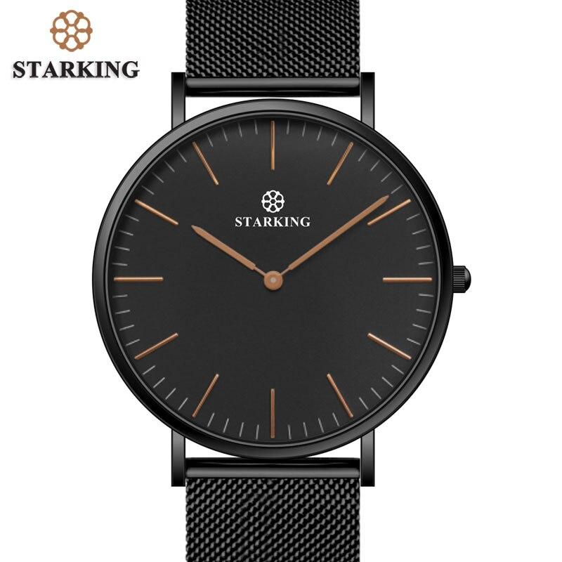 STARKING Brand Street Style 6mm Ultra-thin Simple Watch Men Quartz Fashion Full Steel Male Wrist Watches Black Mesh Strap Clock