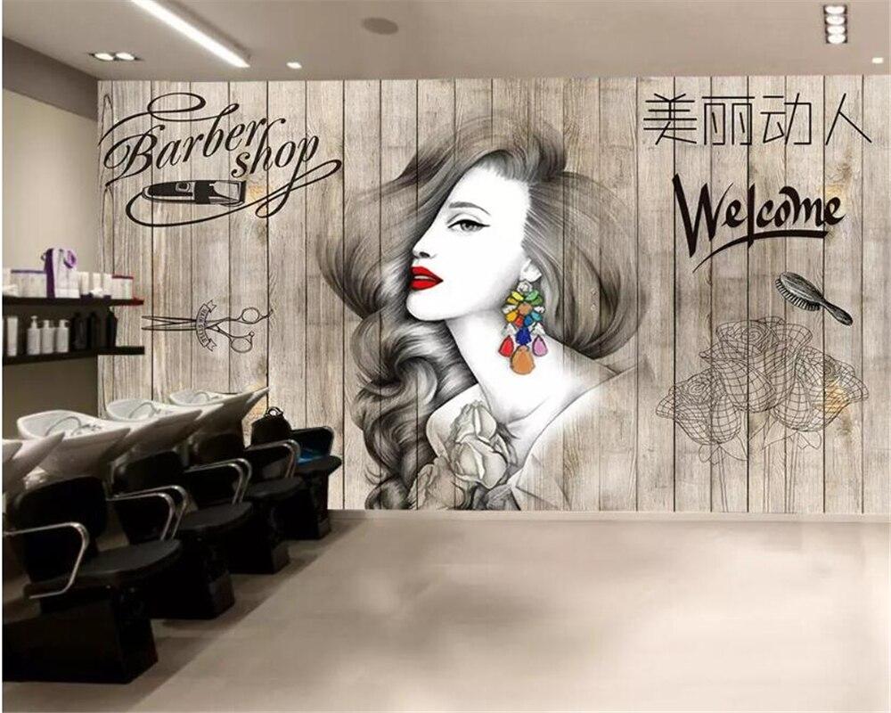 Beibehang Foto tapete Nordic haar salon friseur schönheit salon barber shop hintergrund wand dekoration 3d tapete wandbild