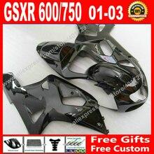 ABS plastic Fairings for new glossy black SUZUKI 2001 2002 2003 GSXR 600 750 motocycle parts 01 02 03 fairing kits 7 gift JD93