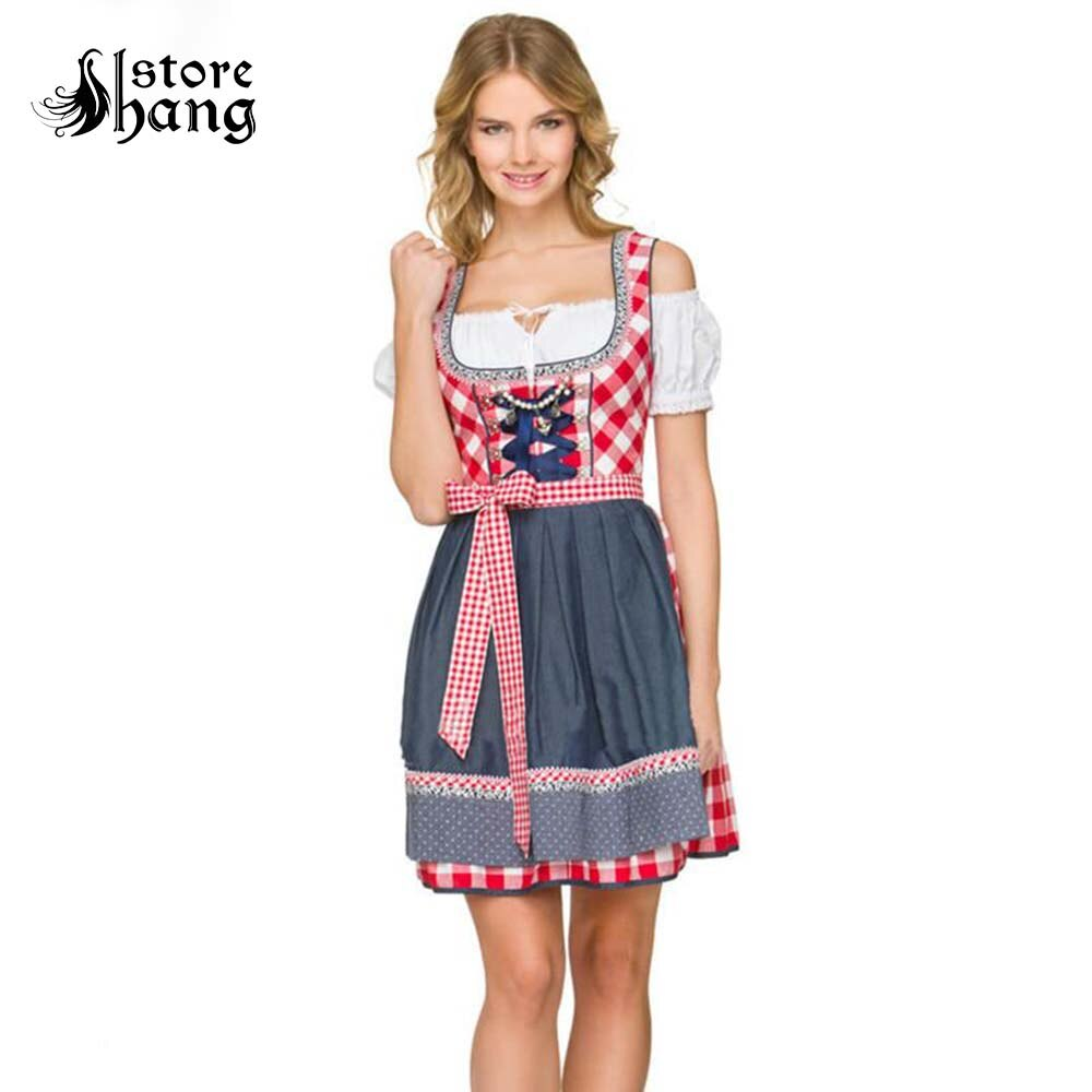 Mujer Oktoberfest Dirndl disfraz cerveza Festival Red Plaid Cosplay Bavarian Maid Peasant vestido Halloween vestido elegante regalo para chica