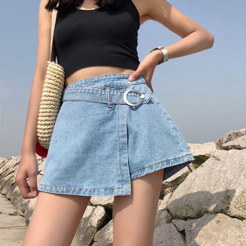 Yfashion moda mujer Denim Pantskirt nuevo 2019 elegante falda de cintura alta pantalones cortos únicos irregulares de línea a para mujer Mujer