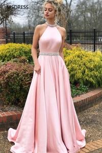 Rhinestone Belt High Neck Backless Satin Dress Pink Evening Party Gowns vestidos de fiesta Long Graduation Prom Dresses 2019