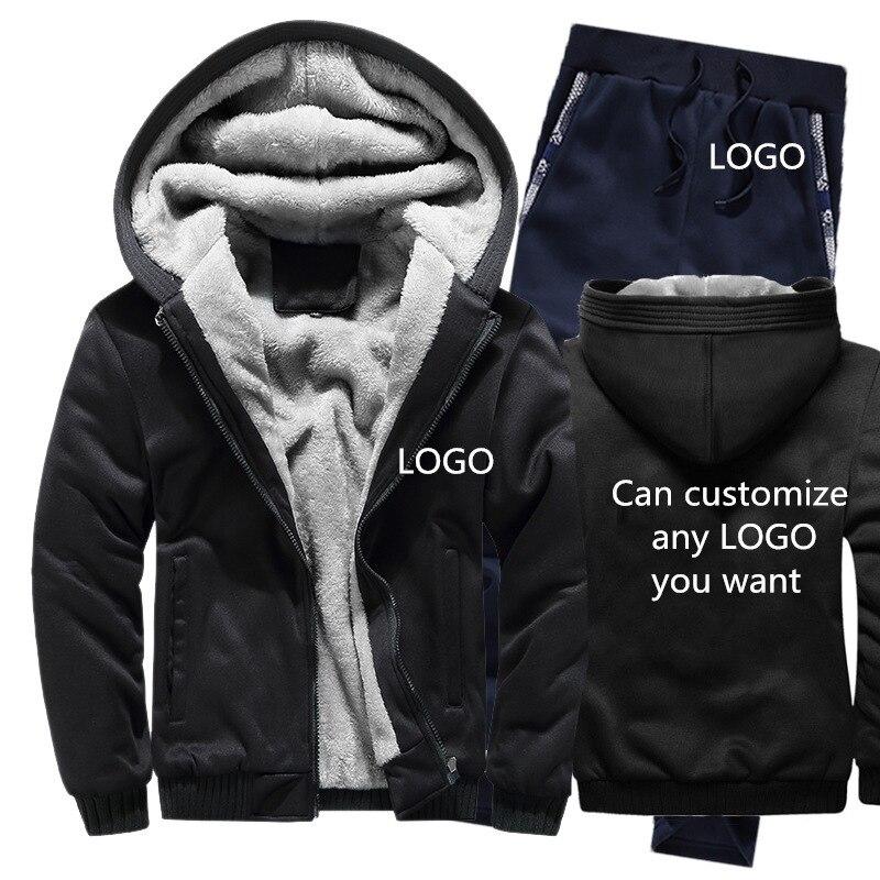 Sudaderas con capucha de invierno para hombre, con logotipo personalizado, Sudadera con capucha para hombre, chaqueta para hombre + Pantalones 2 piezas conjuntos