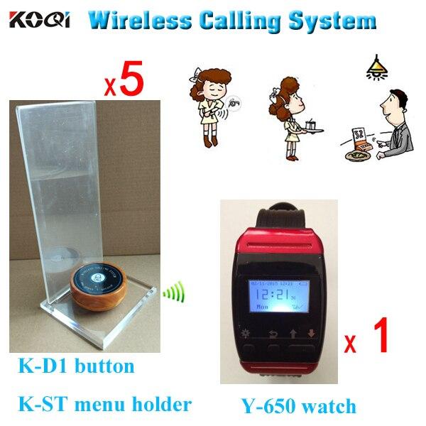 Vibrante localizadores para restaurante Y-650 reloj de pulsera con K-D1 de botón de madera