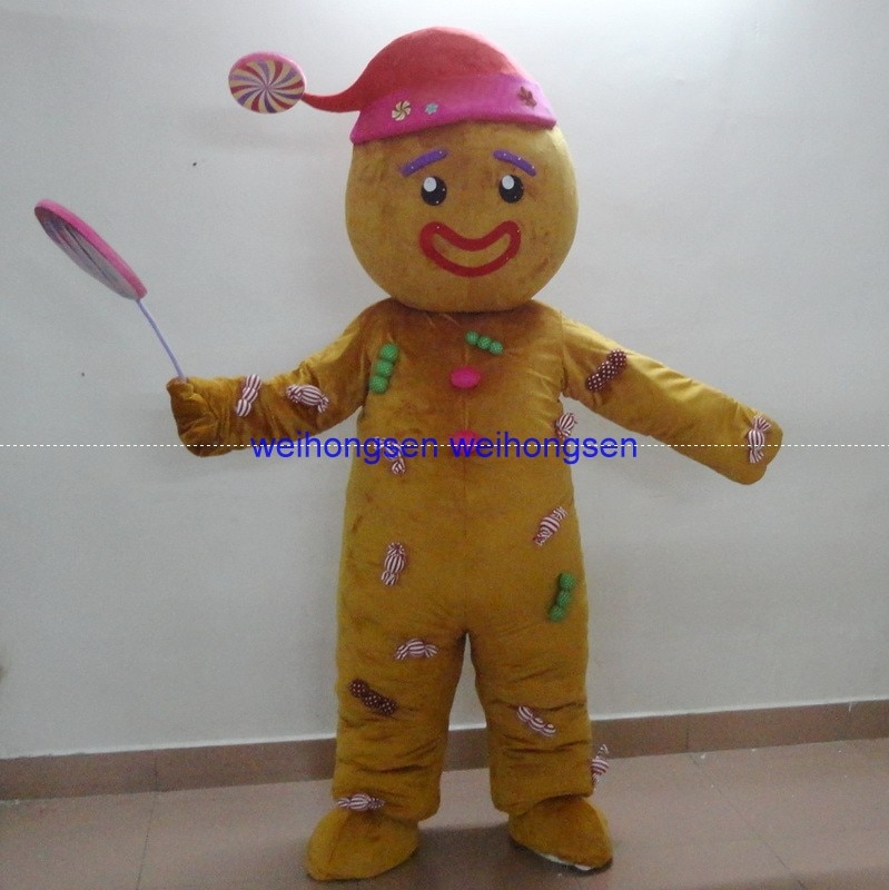 Alta calidad EVA Material casco Venta caliente Gingerbread hombre mascota disfraces ropa de dibujos animados fiesta de cumpleaños mascarada 903