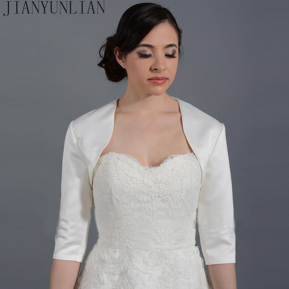 Новинка 2020New, белая/цвета слоновой кости, сатиновая модная накидка с коротким рукавом на свадьбу, на заказ, болеро, аксессуары для свадьбы, накидка Свадебная накидка