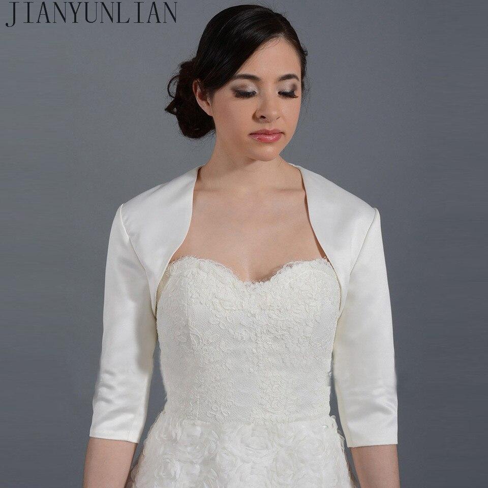 20nuevo Blanco/Marfil satén moda media manga boda chaqueta hecha a medida bolero como accesorio de boda capa de la boda envolturas nupciales