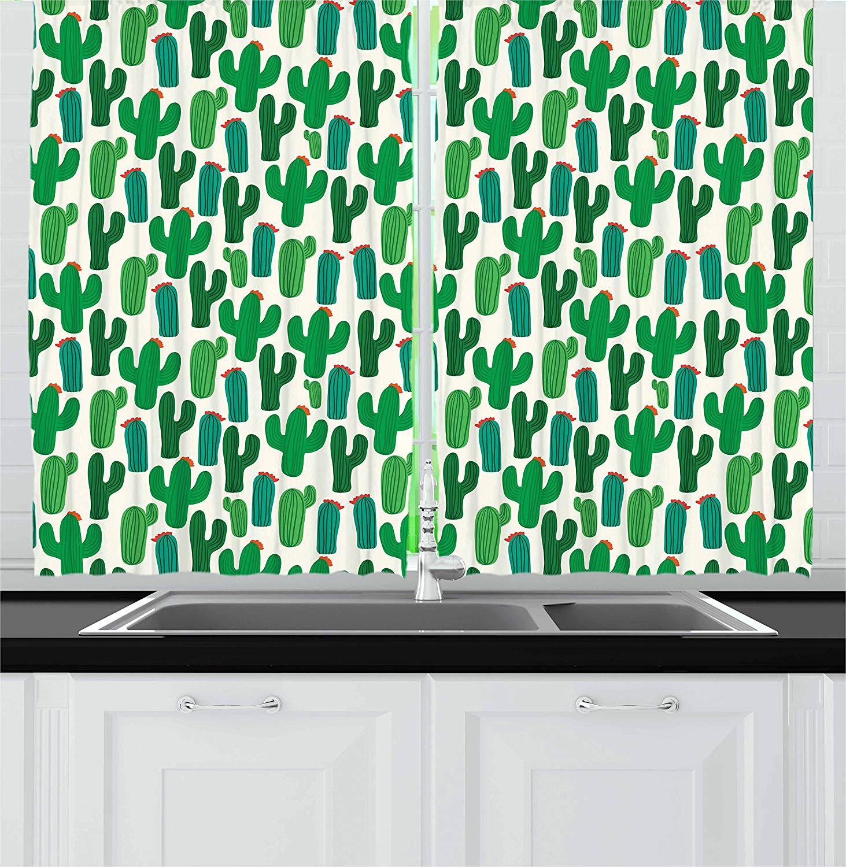 Exóticas cortinas de cocina vibrante San Pedro Cactus follaje clima desierto floreciente plantas mexicanas ventana decoración Panel conjunto