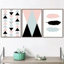 Nórdico minimalista línea geométrica pluma cuadro sobre lienzo para pared carteles nórdicos e impresiones cuadros de pared para decoración para sala de estar