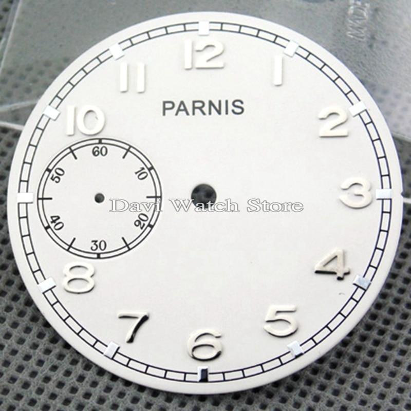 Parnis 38,9mm blanco dial fit eta 6497 Sea-gull st36 movimiento reloj caras