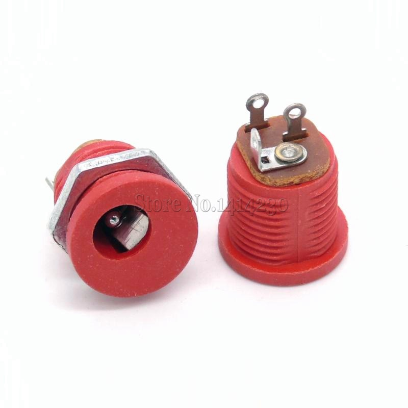 10 Uds. 5,5-2,1 DC-022/5,5x2,1mm DC toma de corriente/DC conector de montaje en Panel DC022 rojo
