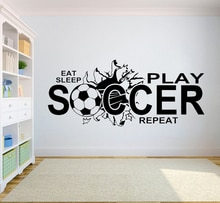 Sticker Mural de football manger sommeil jouer football vinyle Stickers muraux citation enfants garçon adolescent chambre décor Sport Art Stickers muraux A059