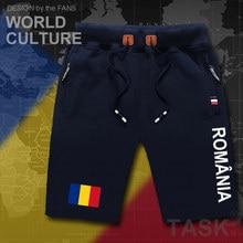 Short de plage pour hommes   ROU, roumain, short de plage, drapeau, poche de survêtement, culturisme, marque 2017 coton