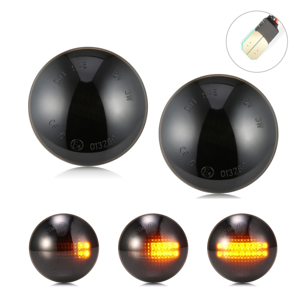 2 uds dinámica luz LED de intermitente lado repetidor indicador lateral luces para Land Rover Range Rover L322 2002-2012